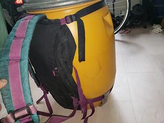 Canoe barrel with harness