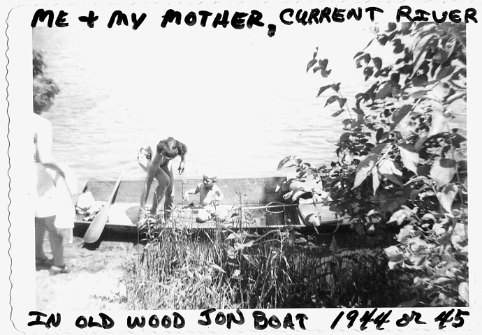 Mother and me on the Current river; probably 1946