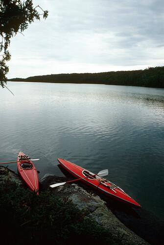 117 Kayaks at Pickerel Cove, day 3, Pt between Pickerel and Robinson Bay, Isle Royale N.P. '80  0823